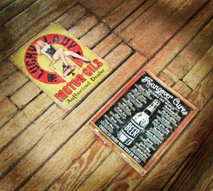 Vintage signs from Devil's Backbone Tavern, Fischer, TX