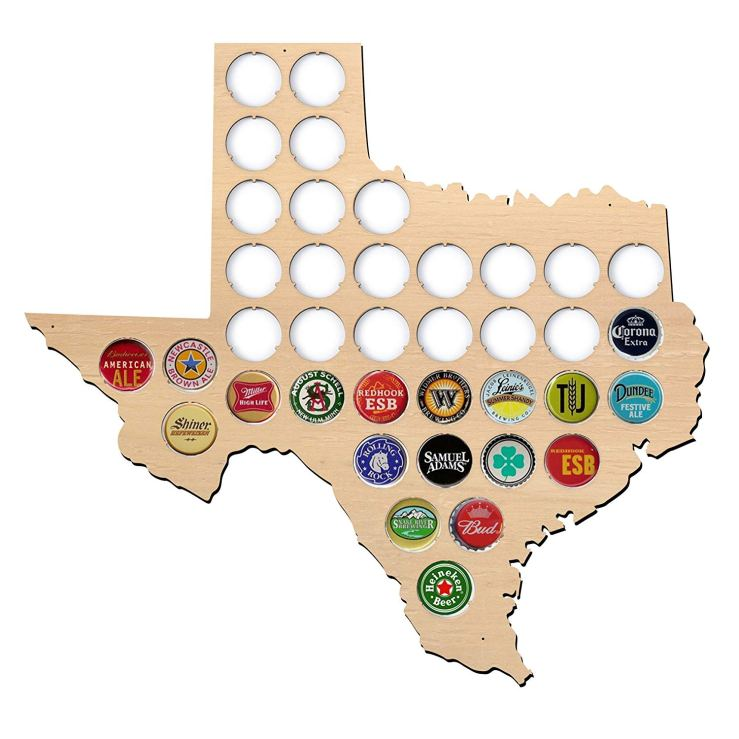 Wooden Texas Beer Cap Display
